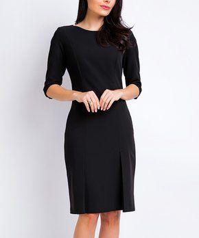 87440373 Awama   Black Princess-Seam Slit-Hem Sheath Dress   GORGEOUS CHURCH ...