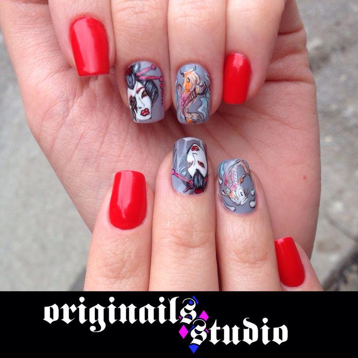 Handpaint geishanails red