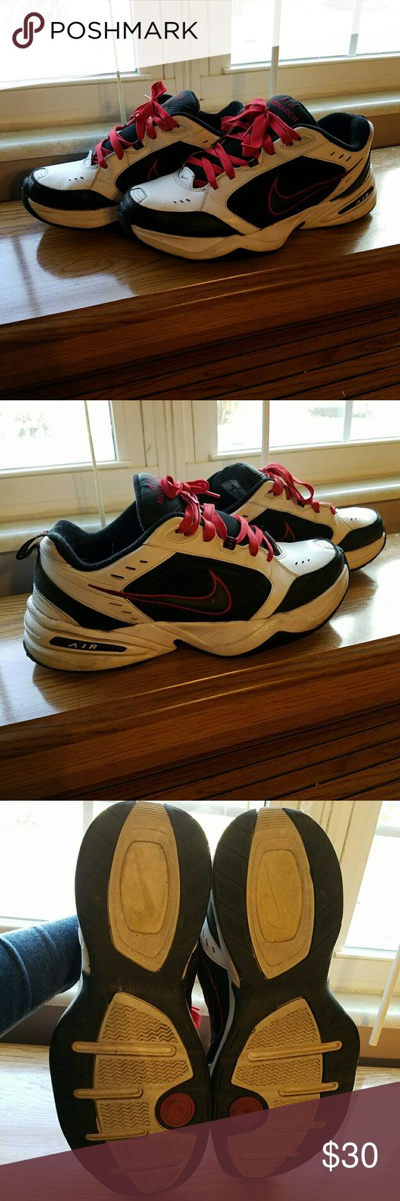 Men's Nike Air Monarch tennis shoes Hardly worn. Still have ALOT of life left in them. They are red white and black. Nike Shoes Sneakers