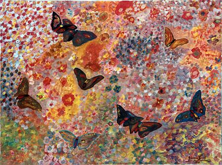 Butterflies in freedom, 1978, acrylic, oil on canvas, 70x100 cm