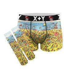 Men's where's wally beach trunks
