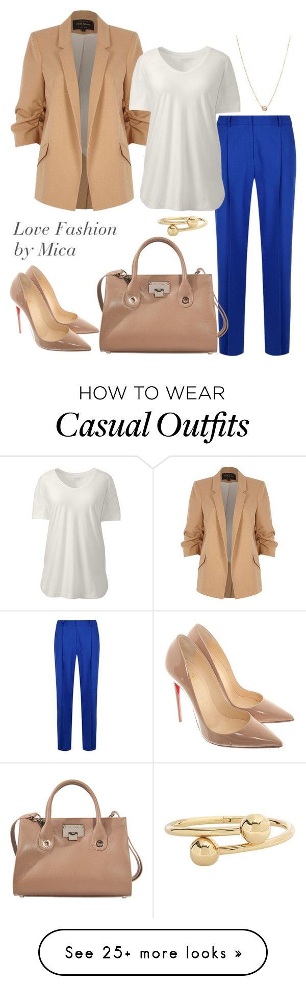 """sofisticada casual"" by micaeuuge on Polyvore featuring River Island, Diane Von Furstenberg, Lands' End, Zoë Chicco, J.W. Anderson, Christian Louboutin, Jimmy Choo and plus size clothing"