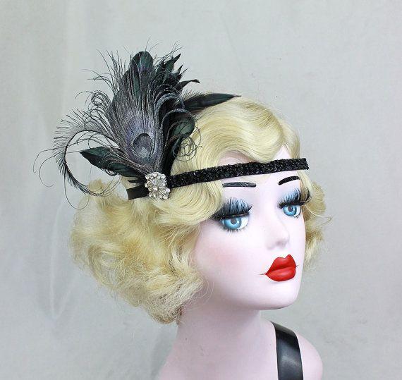 jaren 1920 flapper zwarte veren hoofdband zilver Peacock, Swarovski kristal, haartoebehoren, Great Gatsby, kostuum zendspoel
