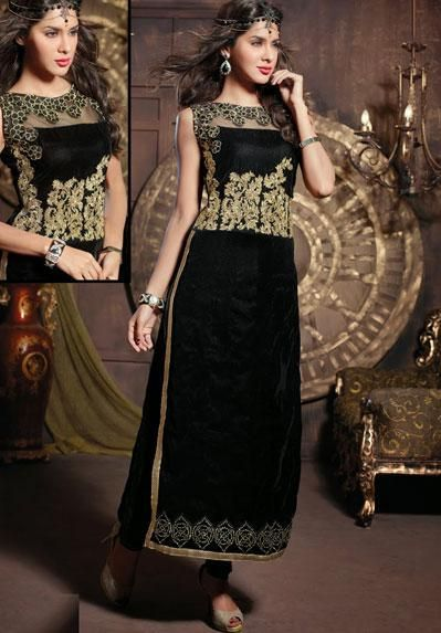 USD 114 Black Embroidered Party Wear Long Suit  40967