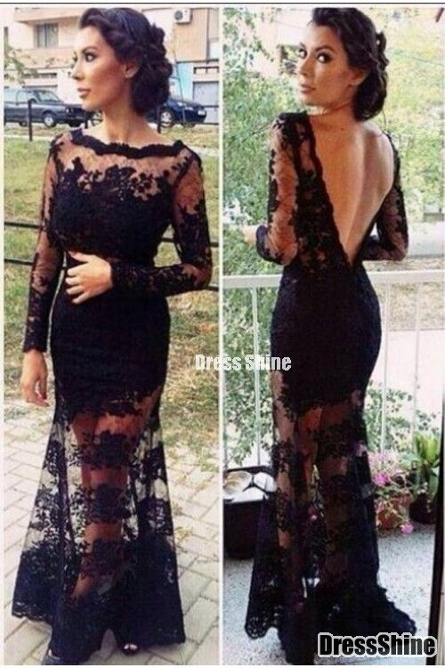 2015 Hot Selling Evening Dresses Bateau Full Sleeves Mermaid With Deep V Shape Back Lace&Tulle