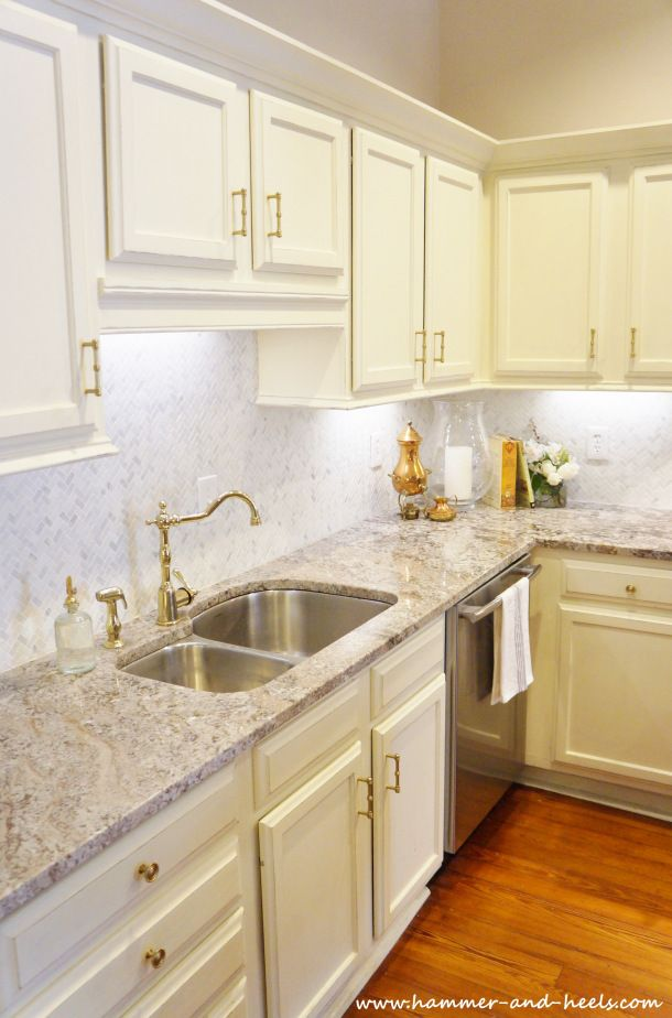 Shabby Chic Kitchen With Annie Sloan Chalk Paint Cabinets, Granite  Countertops And Brass Hardware New