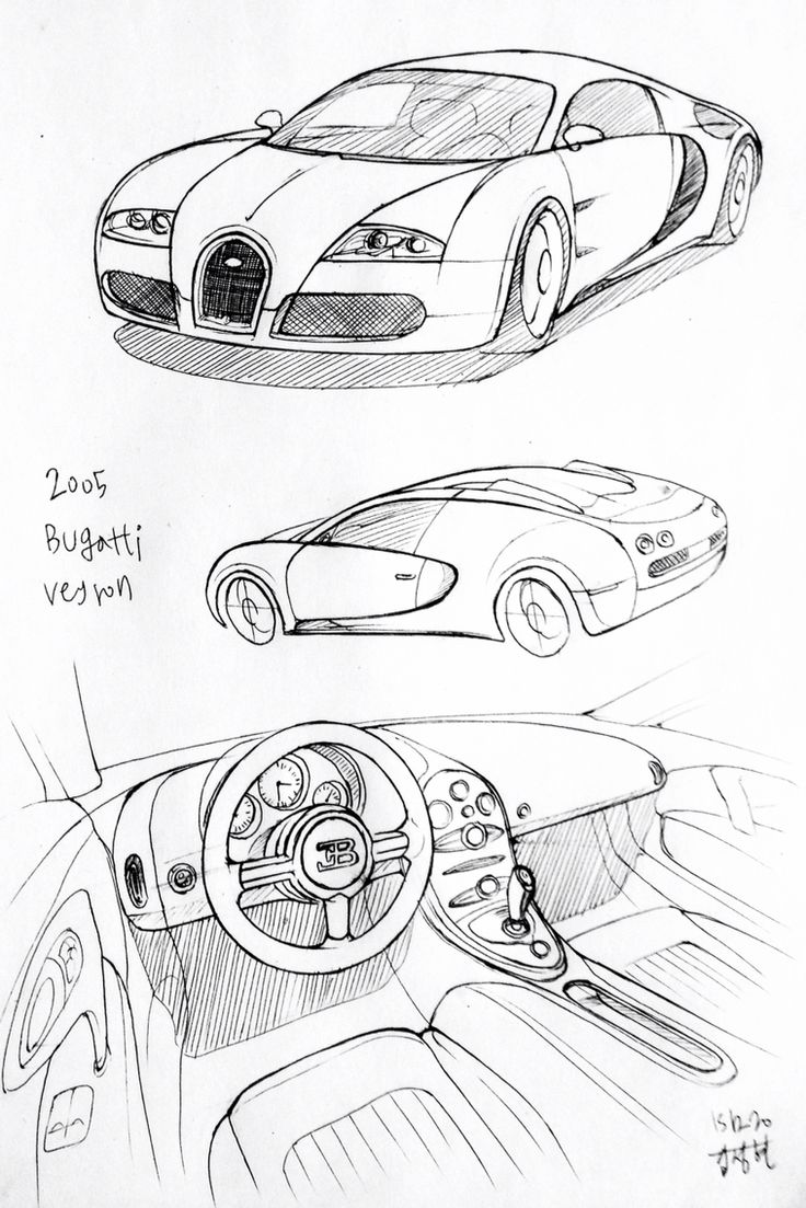how to draw a car bugatti veyron 3d