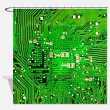 Circuit Board - Green Shower Curtain for