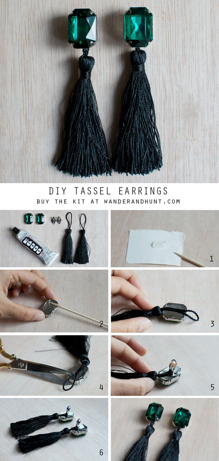 Buy the DIY Emerald Tassel Earring Kit here or the DIY Sparkle Tassel Earring Kit (Party Pack for four) here.  ...