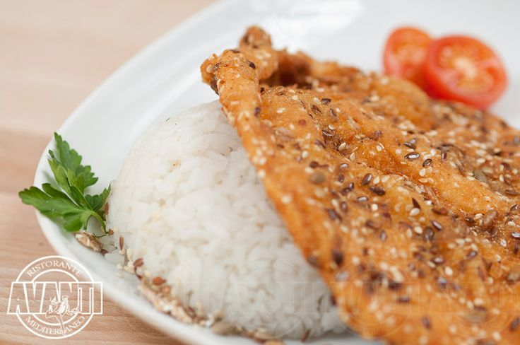 Cereal breaded chicken breast (with jasmine rice)