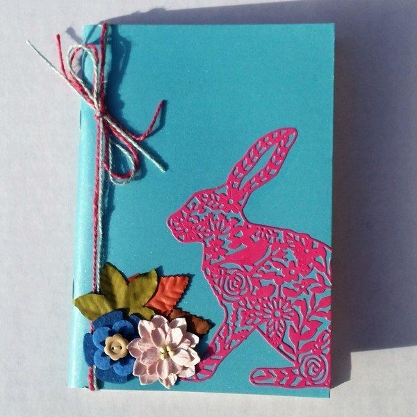 Turquoise and Pink Hare embellished sketchbook / notebook – A5 plain