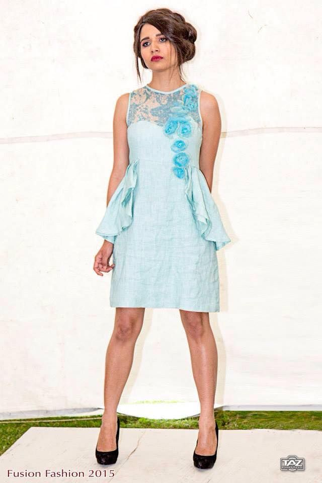 Lovely Lagoon Linen Dress with Handmade Beaded Organza flowers On Sale from €280 to €230 for a limited time , buy it online on www.facebook.com/katleenamazonasfashion  *Size 10 - one off piece