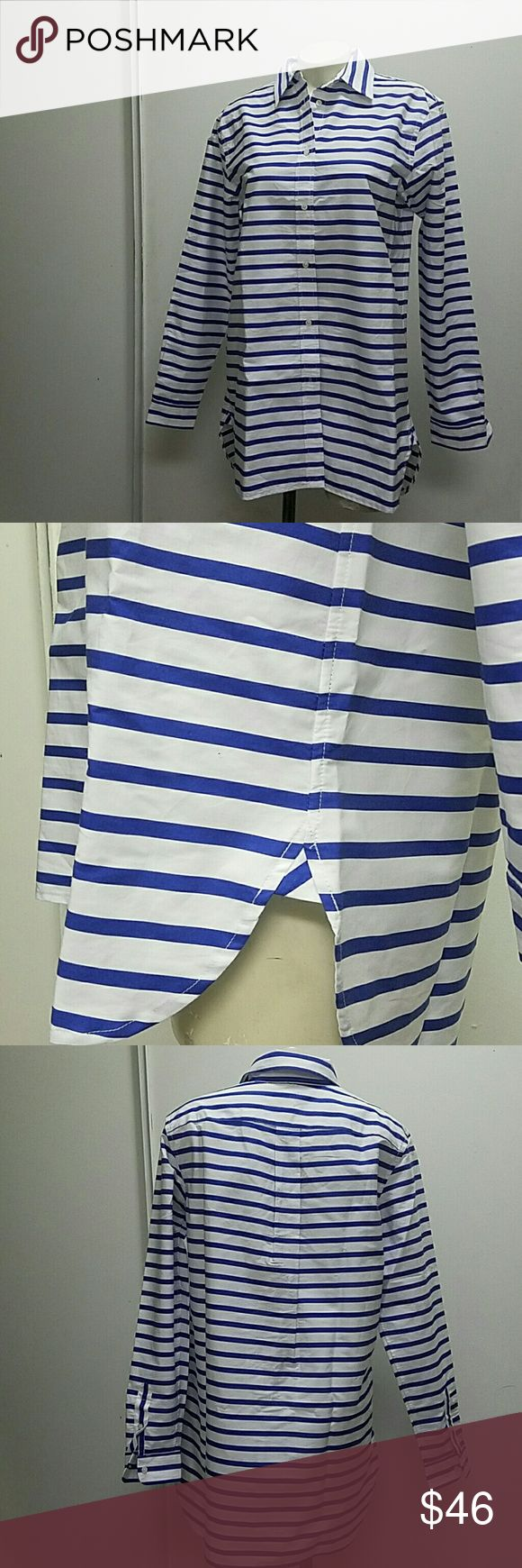 Ralp Lauren top Ralph Lauren buttoned shirt. White with blue stripes. Size medium in womens. New with tag. Ralph Lauren Tops Blouses
