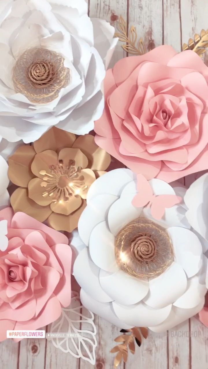 Large Paper Flower Wall Decor White Pink Gold Floral Backdrop