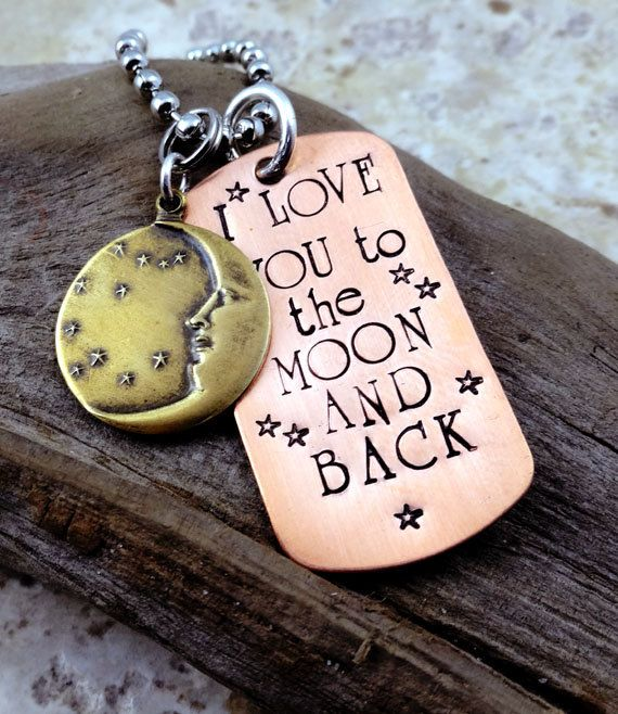 I Love You to the Moon & Back Necklace - Hand Stamped - Men Women - Stars Moon - Friend Mom Grandma Sister on Etsy, $22.00