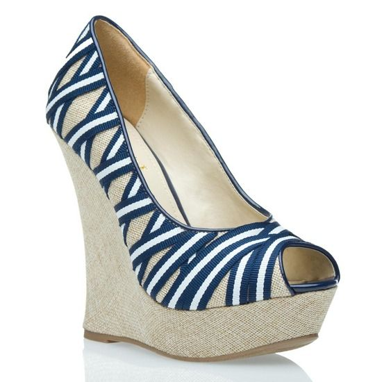Everlyn: Navy And White, Fashion Shoes, Shoes Dazzle, Cute Shoes, Summer Shoes, Fashion Firenze, Blue Stripes, Summer Wedges, Beige Wedges
