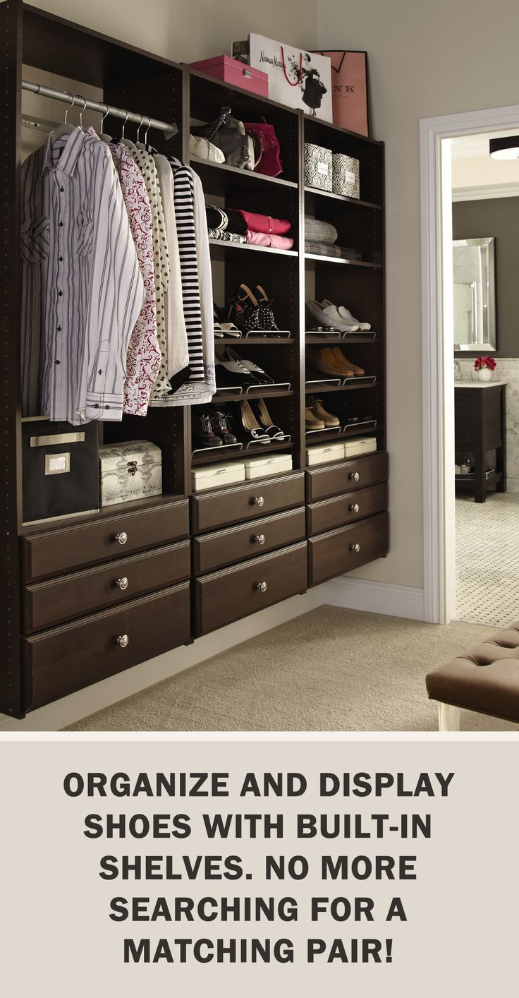 #StorageTips via @ms_living: Organize and display shoes with built-in shelves. No more searching for a matching pair! #Storage #Organization #Closet