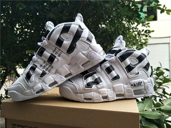 Off White x Nike Air More Uptempo Black White Basketball Shoes For Sale