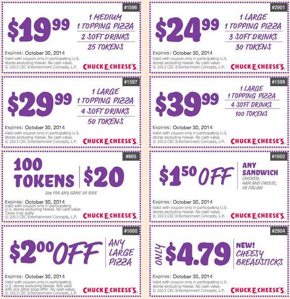 Chuck e cheese coupons tokens 2019