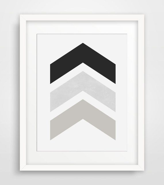 Grey and white chevron wall decor :