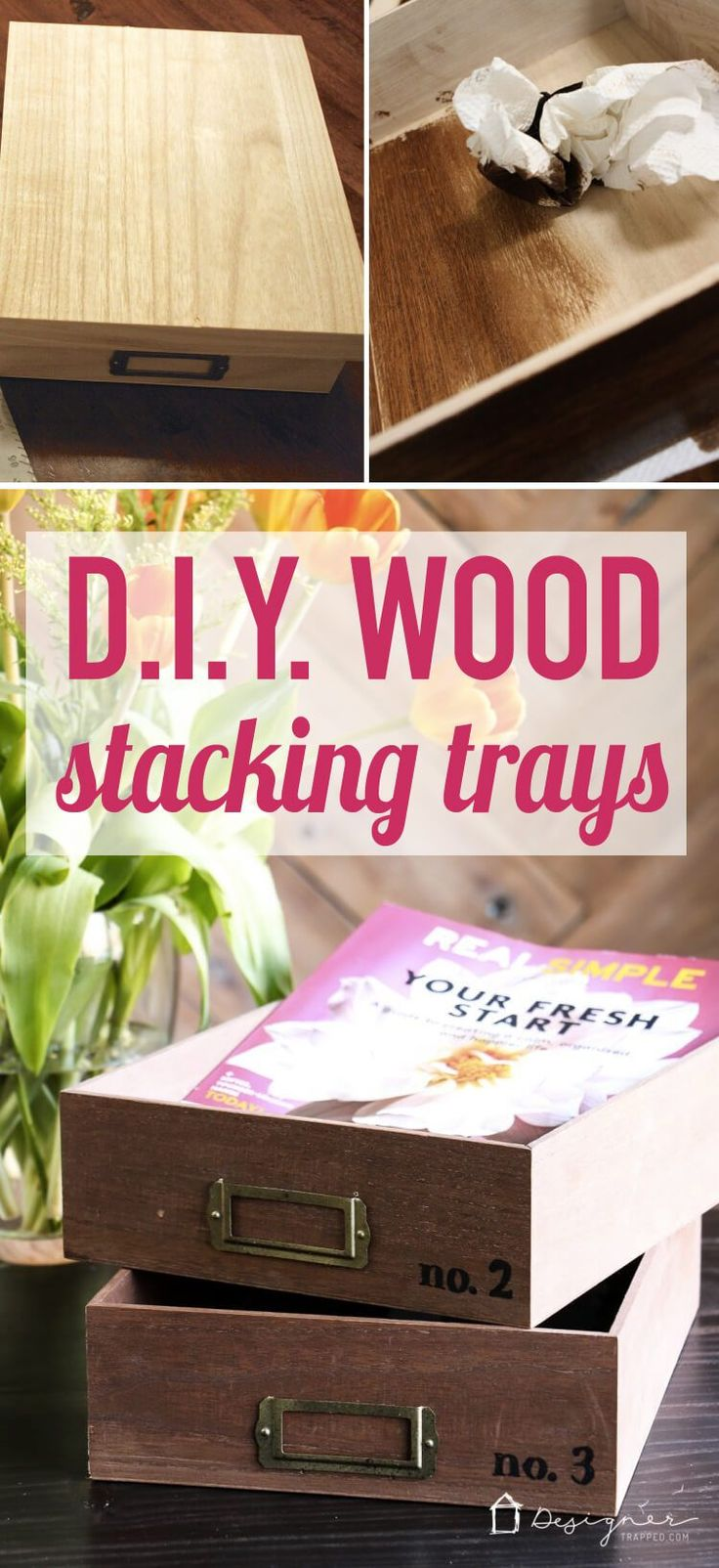 OMG, how cute are these DIY desk organizer trays? Such a great way to organize i...