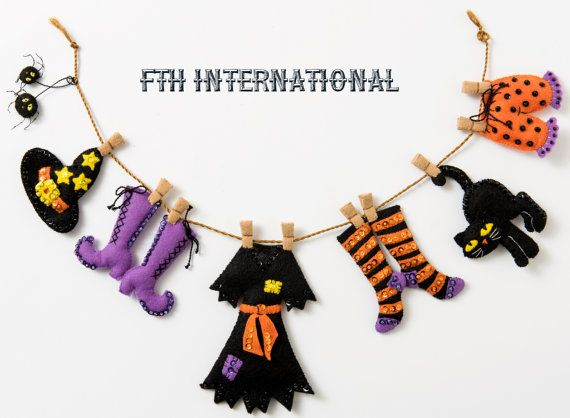 Bucilla Witch's Laundry Line Garland  Felt Halloween