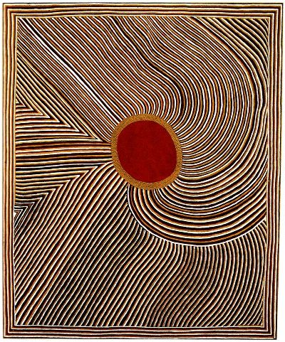 """Mick Namarari Tjapaltjarri, Bandicoot Dreaming, 1991 // """"It is by the acquisition of knowledge, not material possessions, that one attains status in Aboriginal culture. Art is an expression of knowledge, and hence a statement of authority...since designs embody the power of supernatural beings, they are intended to be sensed more than viewed"""" (Wally Caruana, """"Aboriginal Art (World of Art)"""". 2003)"""