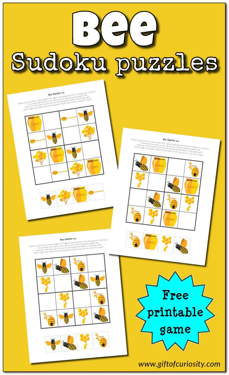 Free printable Bee Sudoku puzzles adapted to be used by young children. Great for challenging kids' critical thinking skills. Perfect for spring learning, these printables are a great resource for a bee or insects unit! || Gift of Curiosity
