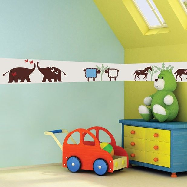 Create imaginative surroundings for your nursery with these Zoo wall borders stickers. Simply peel and stick the animal kids wall borders to provoke an interest with your child.$94.95