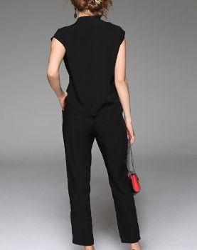 Black Plain Cap Sleeve V Neck Elegant Jumpsuit