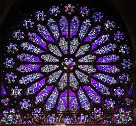 Rose window on south end of transpet arm, St. Denis Cathedral, St. Denis, France.