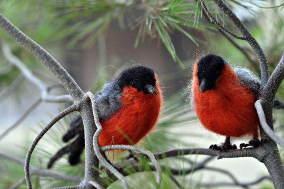 needle-felted bullfinch