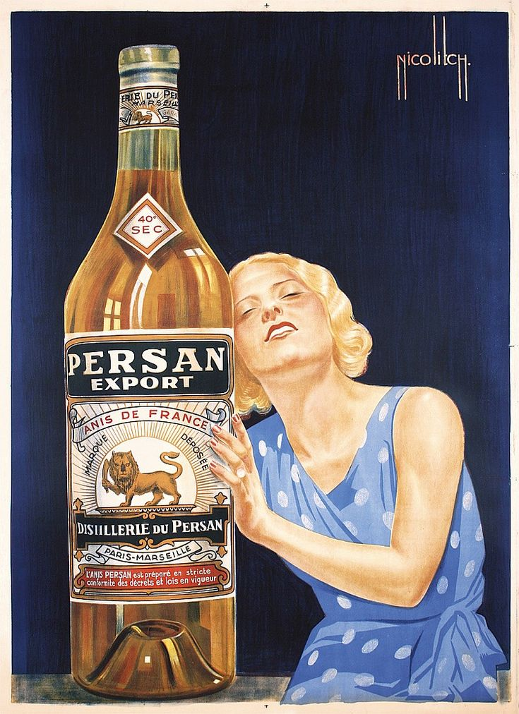 Original 1930s French Persan Liquor Poster Plakat - by PosterConnection Inc.