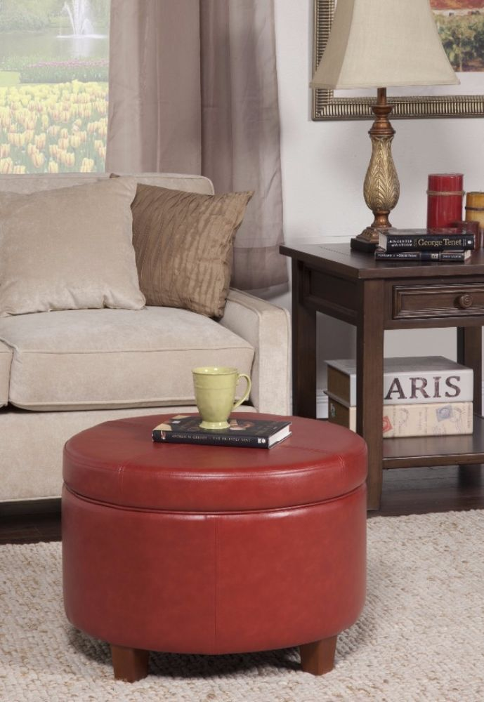 Cinnamon Red Faux Leather Round Storage Ottoman Home Office Furniture New # ottoman - 25+ Best Ideas About Round Storage Ottoman On Pinterest Ottoman