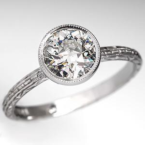 Antique Engagement Ring Bezel Set Diamond Solitaire Platinum