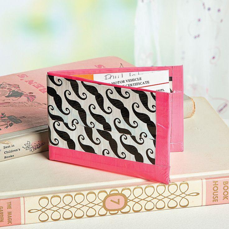 DIY Craft Duck Tape Black Moustache Wallet - OrientalTrading.com