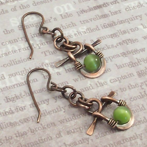 Wire Wrapped Jewelry Handmade Earrings Mixed Metal Jewelry Dangle Earrings Beaded Earrings on Etsy, $14.00