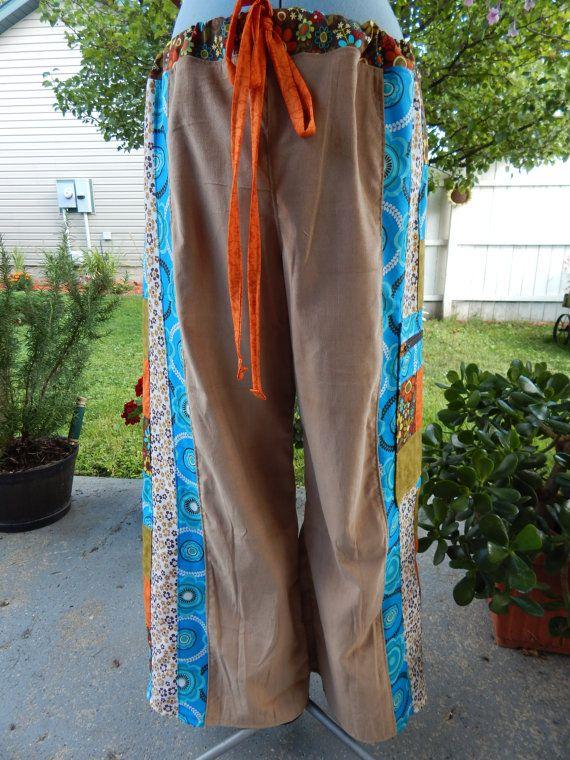 Aardse bloemen Hippie Patchwork Wide Leg Broek door attickpatchwork