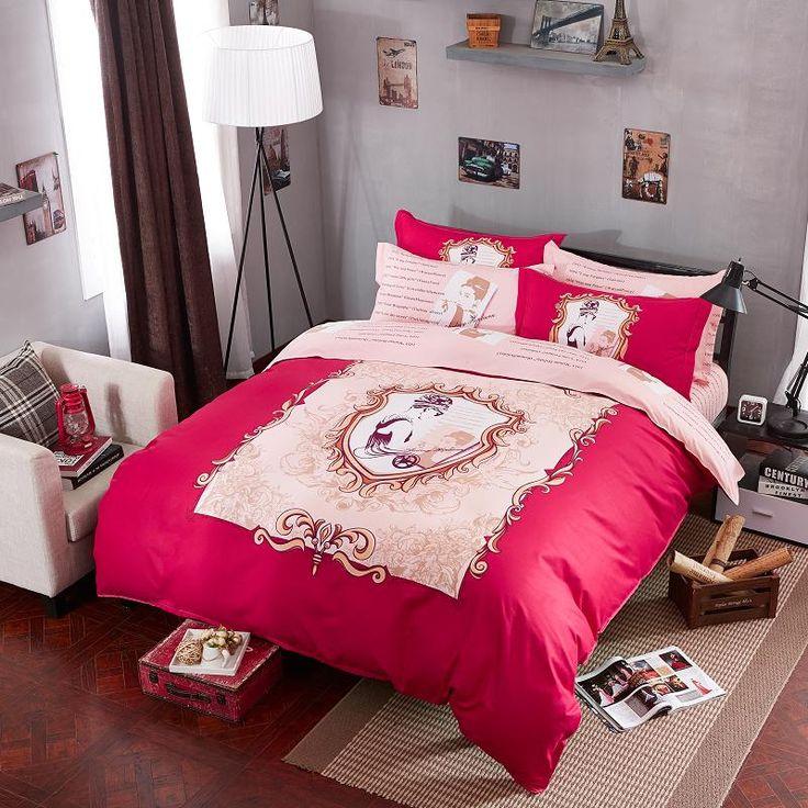 Barato Alta qualidade Audrey Hepburn roupa de cama para crianças roupa de cama 3d conjunto de cama com capa de edredão / folha de cama / fronhas rei, Compro Qualidade Roupas de cama diretamente de fornecedores da China:  Frete grátis 12 cores 4 pcstwill bonito dos desenhos animados rainha conjuntos de cama roupa de cama para crianças algo