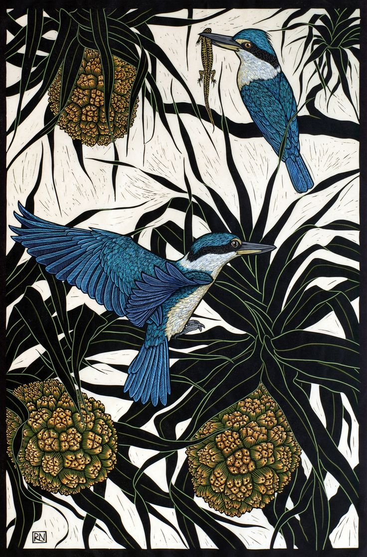 """Sacred Kingfisher"": Rachel Newling. Hand-coloured linocut on handmade Japanese paper"