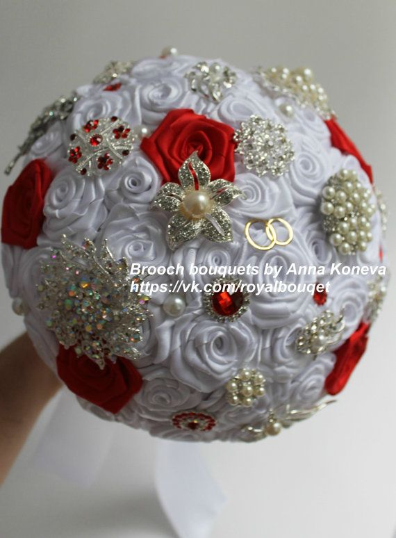 Items Similar To Red Brooch Bouquet Heirloom Bridal Broach Wedding Beach White