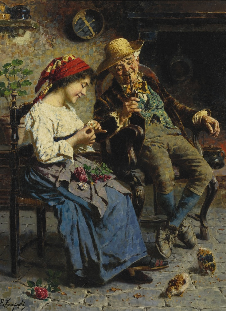 Eugenio Zampighi (Italian, 1859-1944) - He loves me, he loves me not - by Sotheby's
