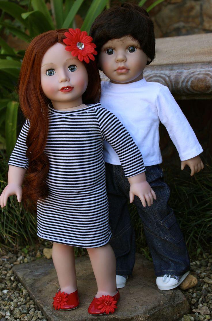 HARMONY CLUB DOLLS, Lyric and Mason. Size of American Girl 18 inch Dolls. SHOP www.harmonyclubdolls.com