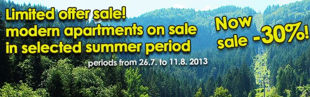 Exclusive summer offer on holiday in apartments now on sale -30%
