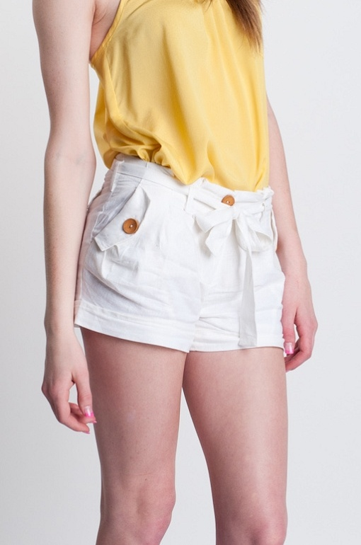 White Linen Shorts summer tiewaist buttons