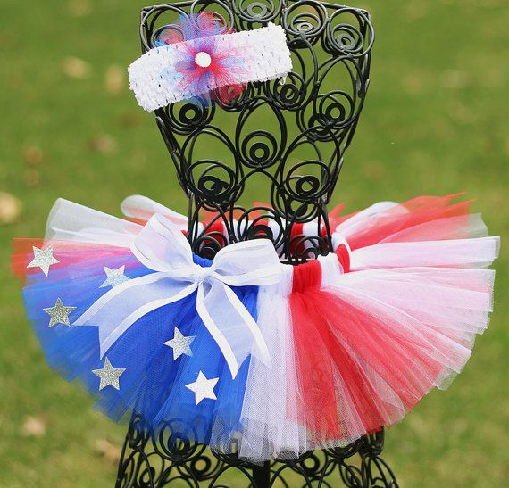 Fourth of July Tutu, Little Girls Tutu Skirt, 4th of July tutu, Newborn, Infant, Toddler- Red, White, Blue via Etsy
