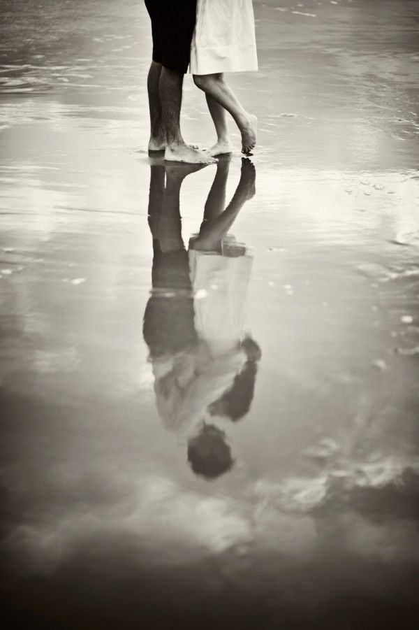 Black and White beach reflection save the date / engagement photo. via Charleston Weddings Blog