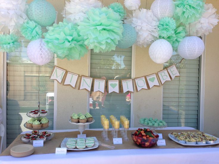 Bridal shower- Mint to Be! Tissue paper Pom decorations and dessert table