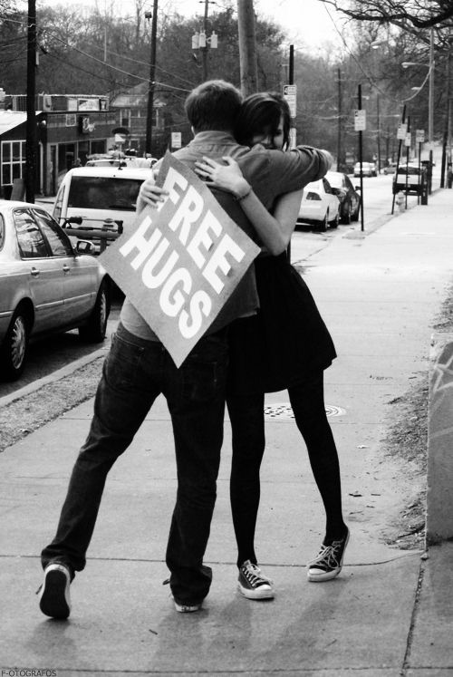 Everyone always thinks I'm crazy or stupid for wanting to do this, but truth is I've had one of my worst moments turn beautiful because of a stranger who smiled when I took him up on the offer of a free hug