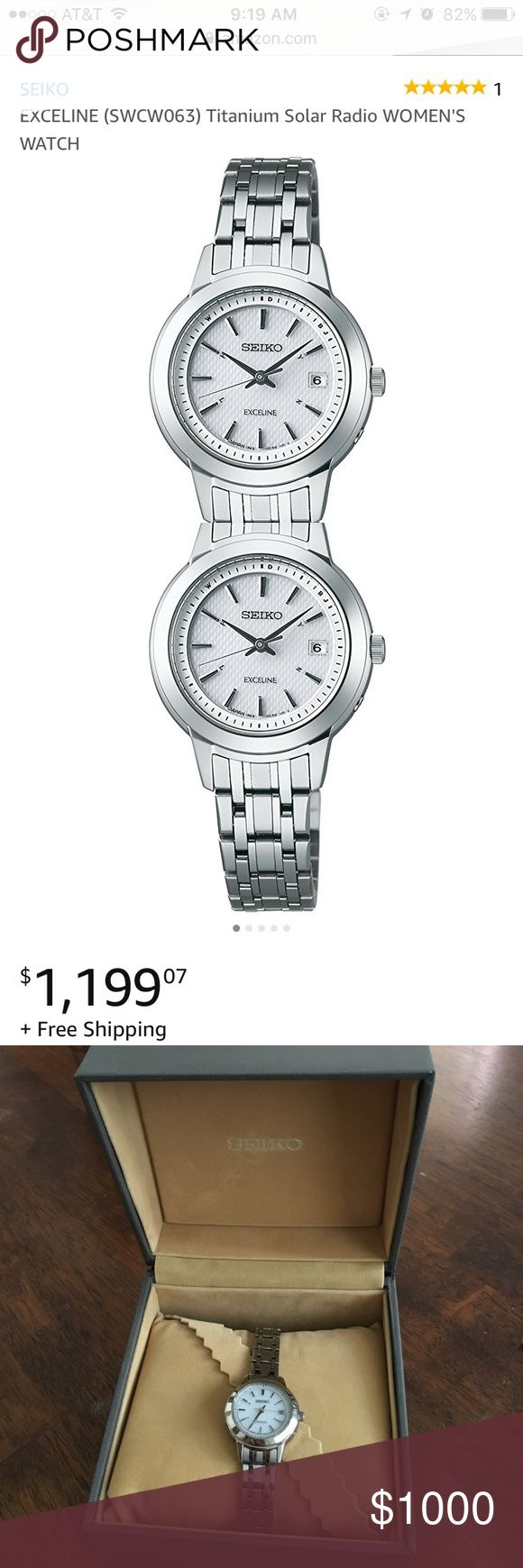 Seiko Exceline Titanium Women's Watch SEIKO Exceline Titanium Solar Radio Women's Watch. GOING FOR $1,200 on Amazon as of this morning (4/28)!!! No flaws, just normal light-wear on the BACK of the face (see last pic). Don't miss out on this deal!!!🎉🎊  Water resistant 10 bars. Check second listing for more pics!! Comes with everything: box, Seiko guarantee, original packaging, care and instruction booklets, etc. Seiko Accessories Watches